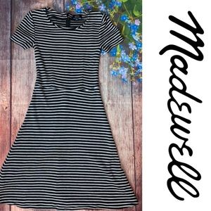 MADEWELL Striped Knit Dress Black White XS